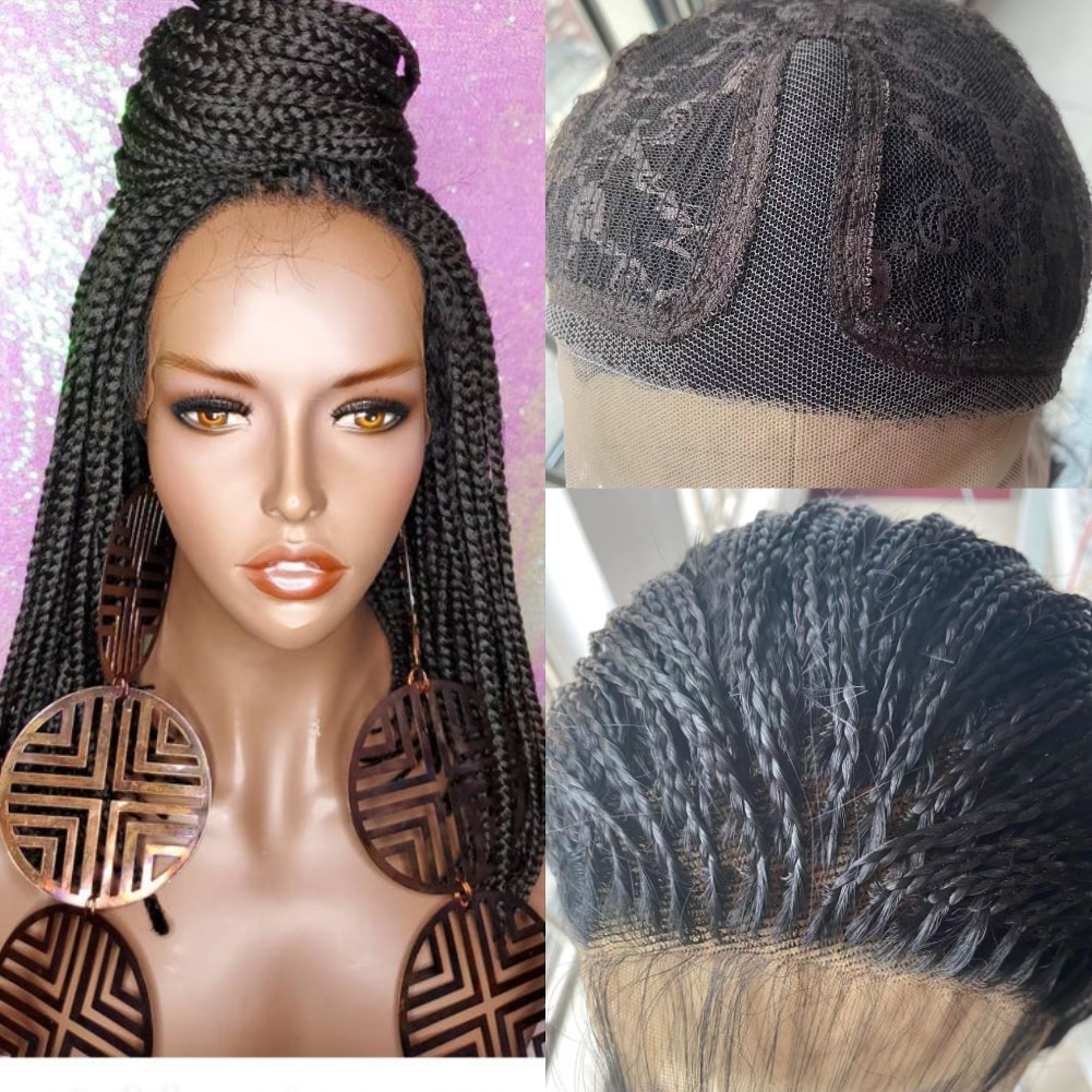 Bob Braided Wigs Lace Front Handmade Box Braids Straight Synthetic Hair Small 3X Long Braiding Hair Wigs with Baby Hair