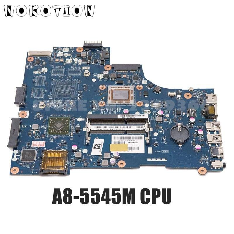 NOKOTION لديل انسبايرون M531R 5535 اللوحة المحمول VAW03 LA-9103P CN-02HKNW 02HKNW اللوحة A8-5545M CPU كاملة اختبار