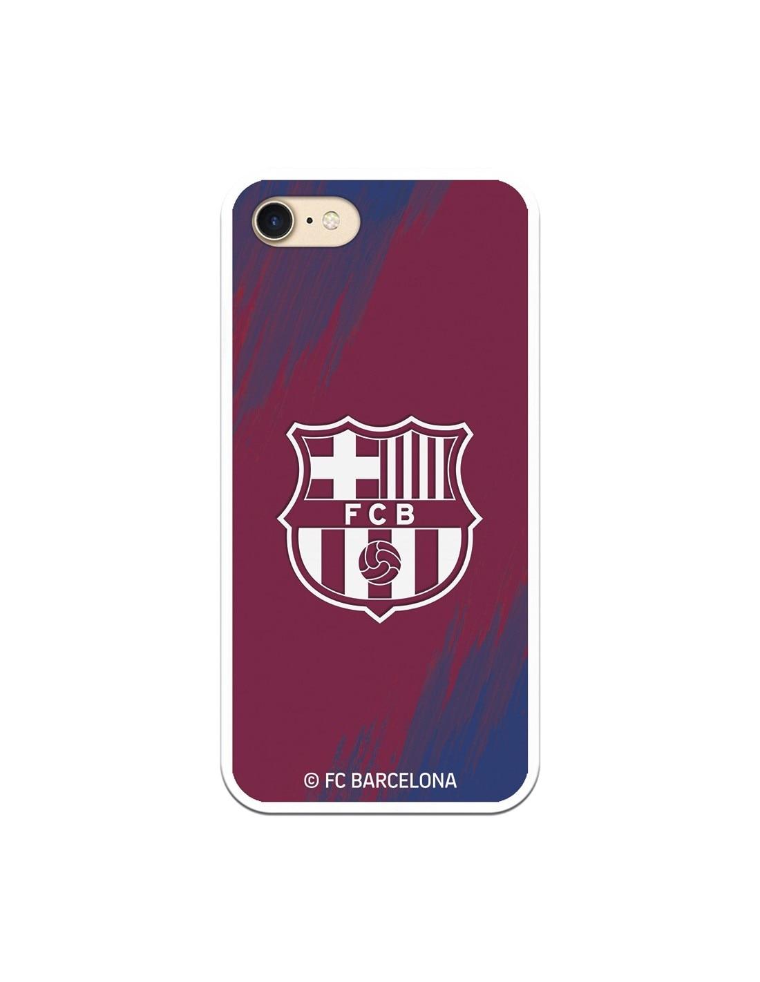 Coque IPhone 7 FC barcelone bouclier fond blanc tache-licence officielle FC barcelone
