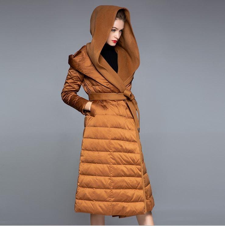 Obrix Goose Down-سترة نسائية ، ملابس الشارع ، سترة طويلة بغطاء للرأس ، حزام ، أكمام طويلة ، كشمير ، موضة