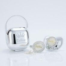 MIYOCAR-chupete metálico personalizado de plata, caja de chupete con clip, libre de BPA, lujoso