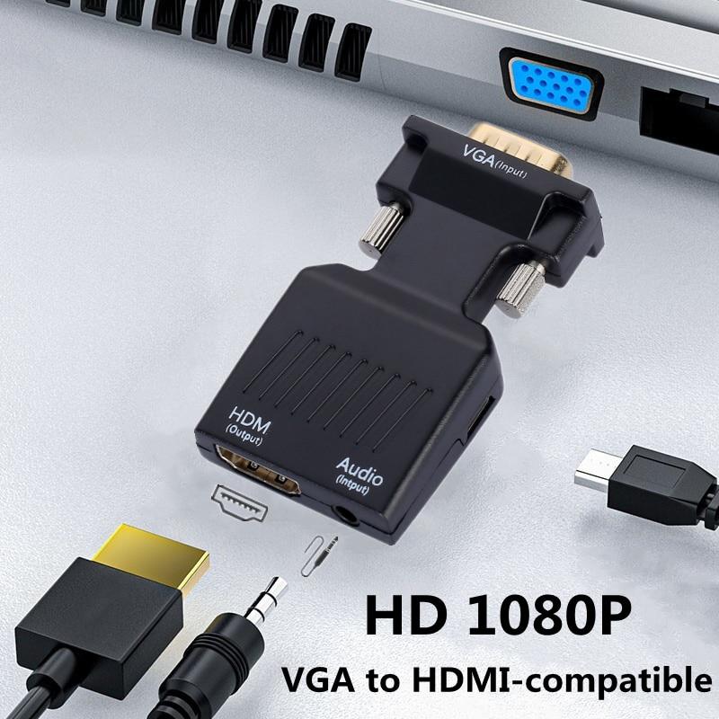 Adaptador convertidor compatible con VGA HD 1080P a HDMI, adaptador VGA para...