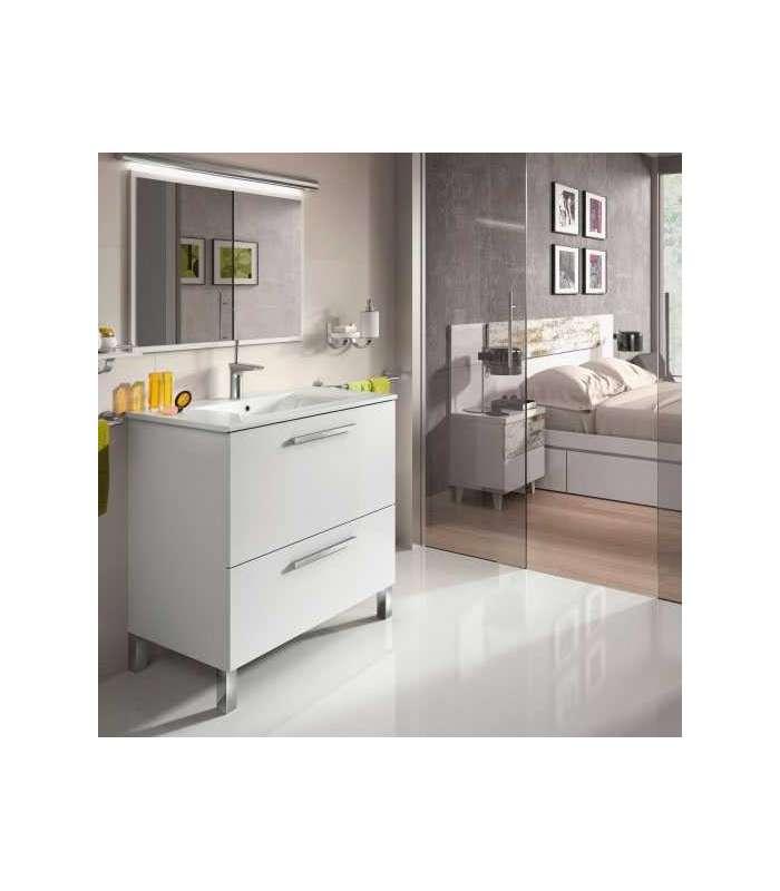 Mueble baño Urban con lavabo y espejo blanco brillo