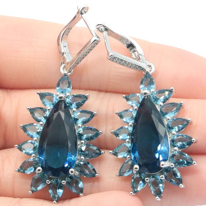 51x23mm Elegant Created Long 14g Violet Tanzanite London Blue Topaz For Sister Wedding Silver Earrings