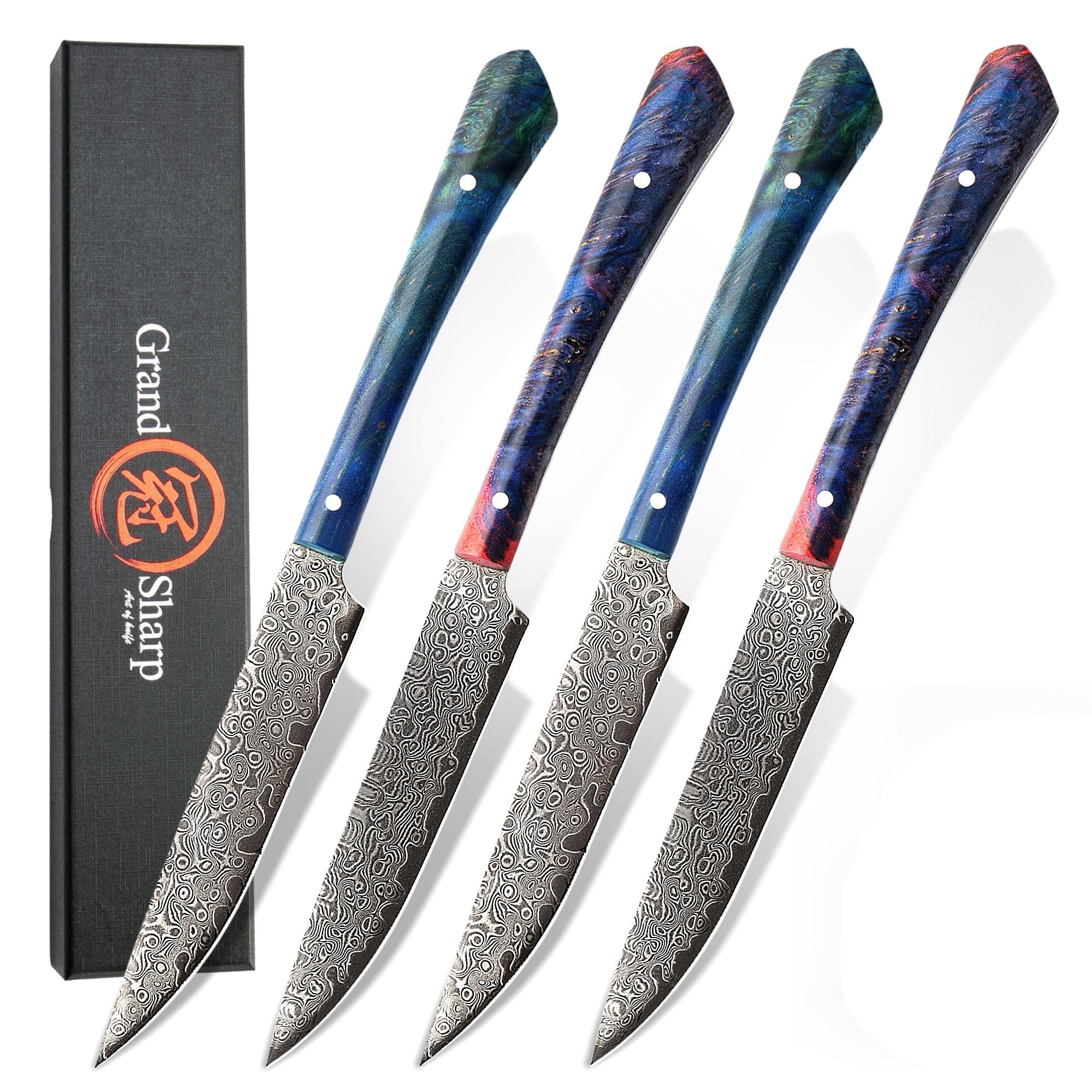 غراندشارب دمشق طاقم سكين لتقطيع شرائح اللحم vg10 اليابانية دمشق سكاكين المطبخ الأسرة هدية أدوات المائدة تجهيزات المطابخ أدوات الطبخ