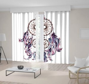 Curtain Bohemian Dream Catcher Traditional Mystic Tribal Theme Artwork Purple Pink Beige