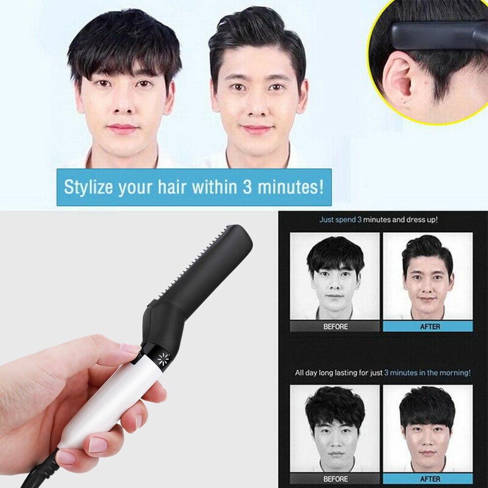 Peine cepillo de pelo multifuncional, alisador de barba, peine Alisador, rizador de pelo, Peinador rápido para hombres