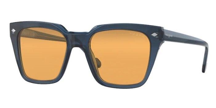 Vogue 5380 S 2760/7 50 Wayfarer Sunglasses, Transparent Blue Frame, Orange Lenses, High Quality  Vis