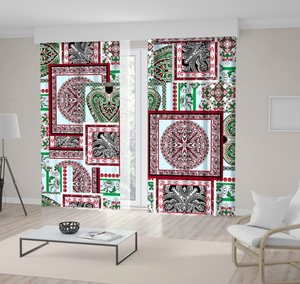 Curtain Mosaic Style Patchwork Quilt Pattern Floral Motives Vintage Decorative Artwork Red White Green