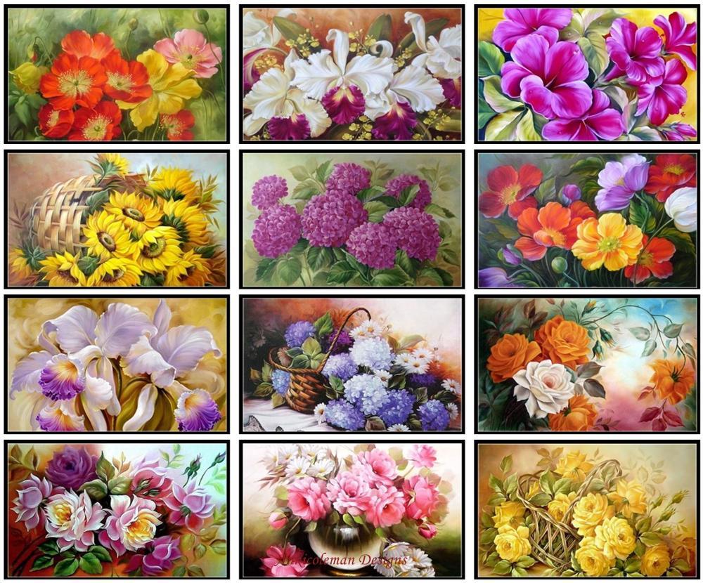 Bordado Cruz puntada Kits de costura-manualidades 14 ct Aida DMC color DIY arte hecho a mano-exquisita flores de