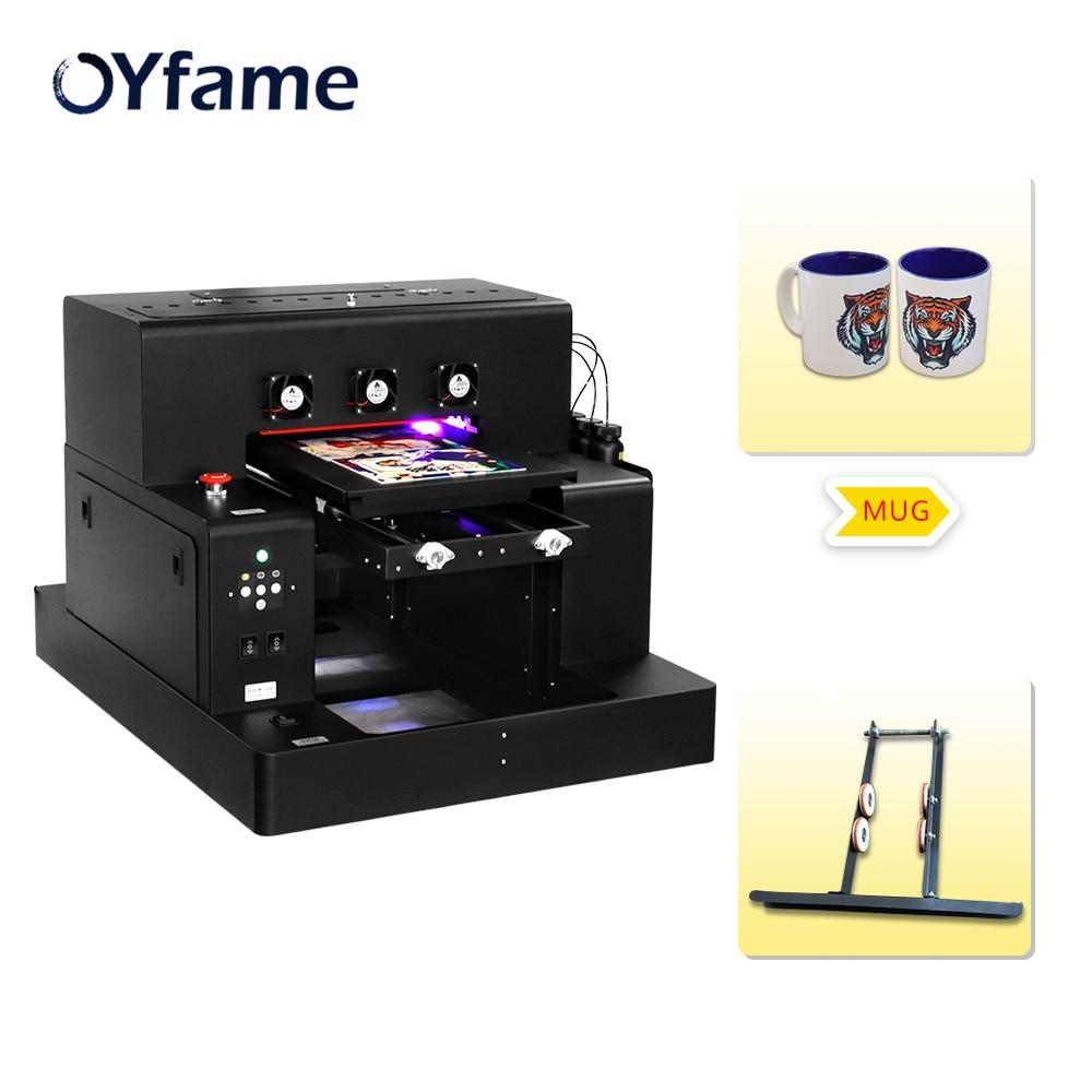 OYfame A3 UV Flatbed Printer Print on Mug Cup L1800 UV Inkjet Printer For Mug bottlle phone case metal acrylic printing machine