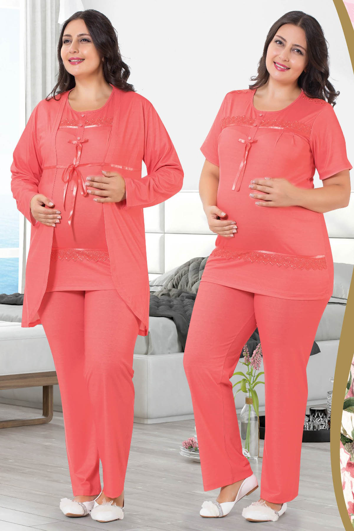 Women Nightgown Dressing Gown Pajamas Set Pregnancy Dress Cotton Soft Lahusa Wear at Home Comfortable Bed 3-Piece Oversize Range enlarge