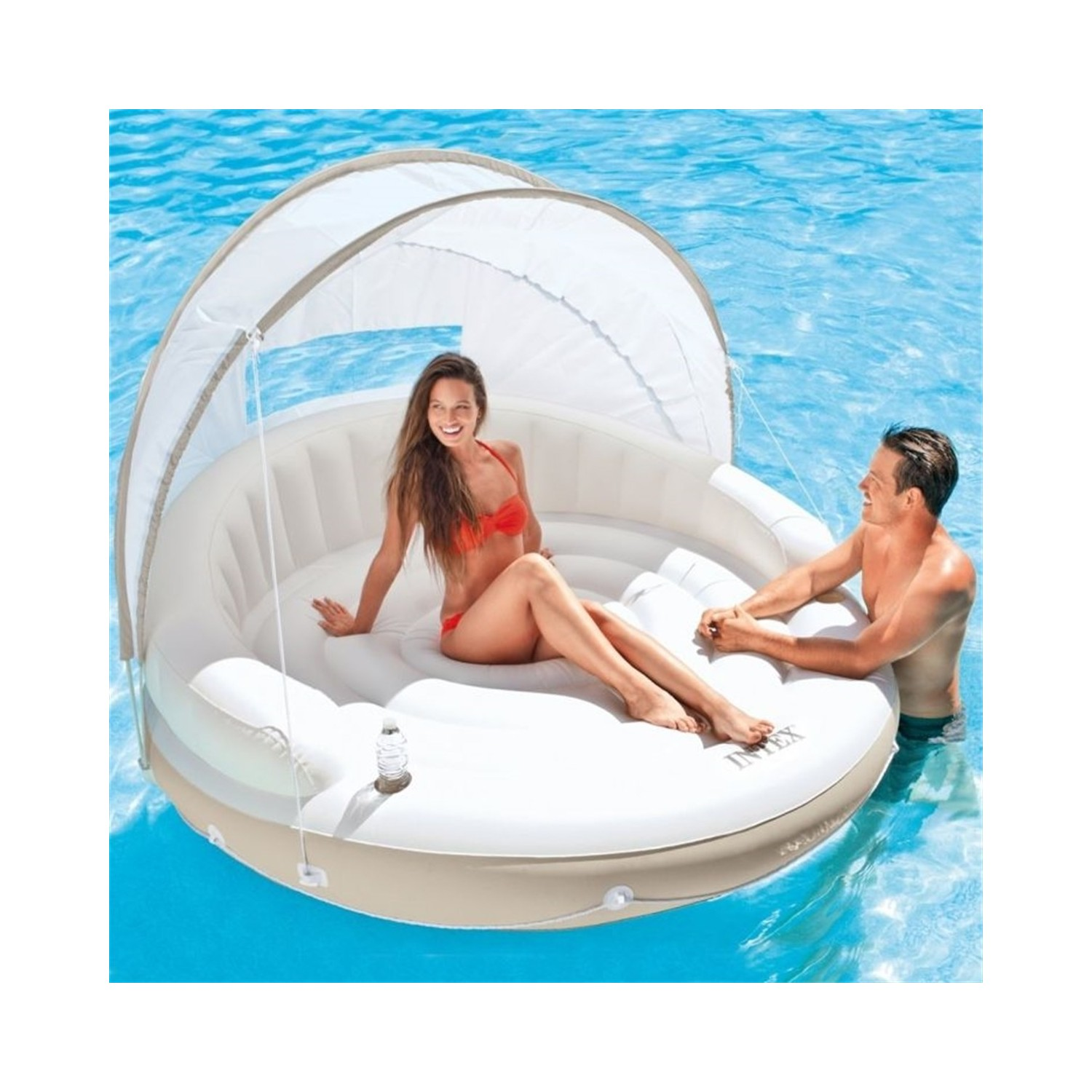 Vardem With Canopy And Sırtlıklı Luxury Island 199x150 Cm-Bed, Pool, Sea Inflatable Bed, Quality, Luxury, 2 Personality, Romantic