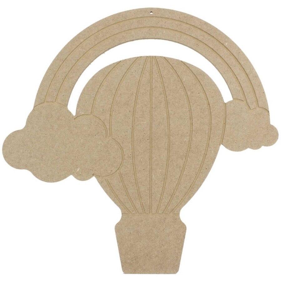 Arco Iris Flying Balloon puerta adorno, madera cruda teñible objeto D34
