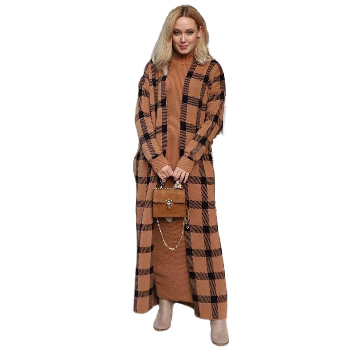 2 Pieces Square Pattern Turtleneck Women's Set, Maxi Dress and Cardigan Suit Islamic Fashion Muslim Clothing Turkey Dubai 2021