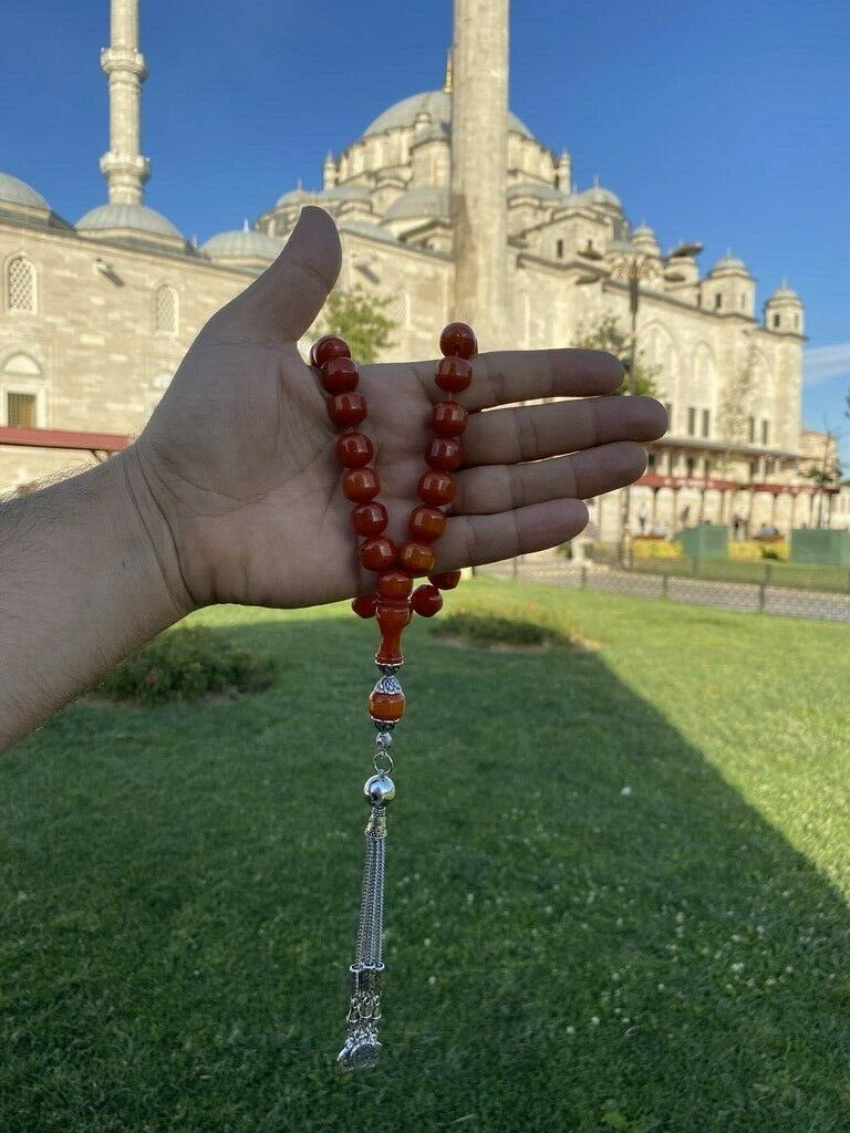 Ottoman Faturan German Amber Sandalous Misbaha Prayer Beads Islamic Gift Tasbih Tasbeeh Tasbeh Rosary Tasbih #19H