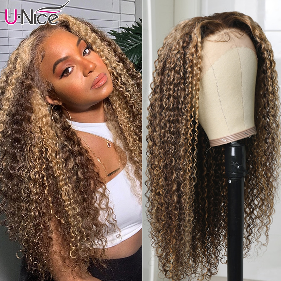 Unice 13x4 Highlight Lace Front Human Hair Wigs HD Transparent Lace Frontal Wig Pre-Plucked 4x4 Curly Hair Lace Closure Wig