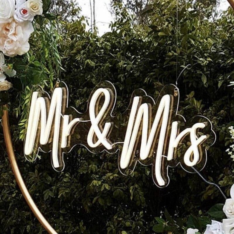 السيد والسيدة النيون تسجيل مخصص الزفاف النيون تسجيل علامات جدار الحفلات ضوء النيون فليكس Led ضوء النيون شخصية ديكور Ins هدية