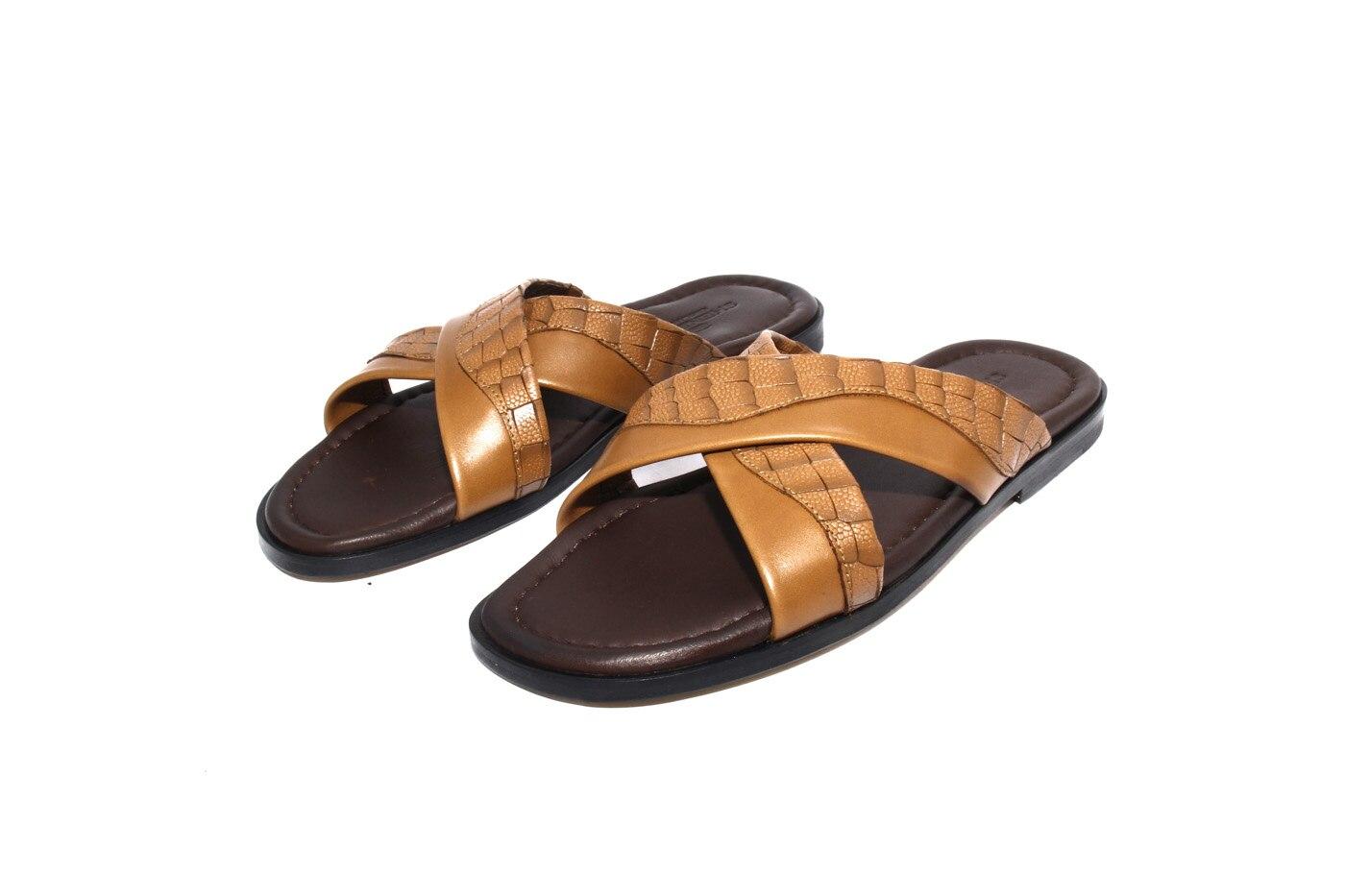 SHENBIN'S-منزلقات جلدية كاملة ، نعال جلدية ، نعل داخلي ناعم ، تبغ وبني ، أحذية رياضية خارجية