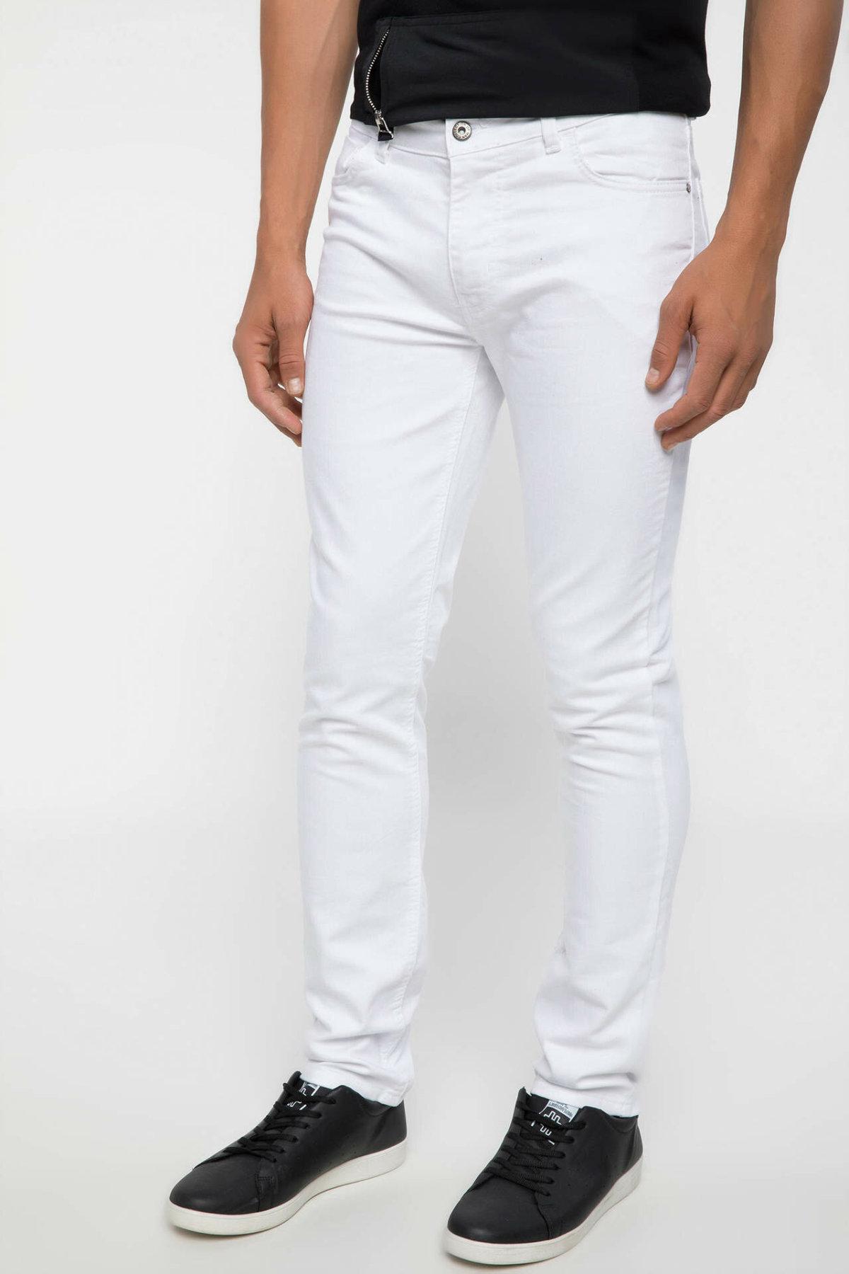 DeFacto Man Summer Breathable White Denim Jeans Men Casual Straight Denim Pants Male Mid-waist Strench Trousers-J6782AZ18SM