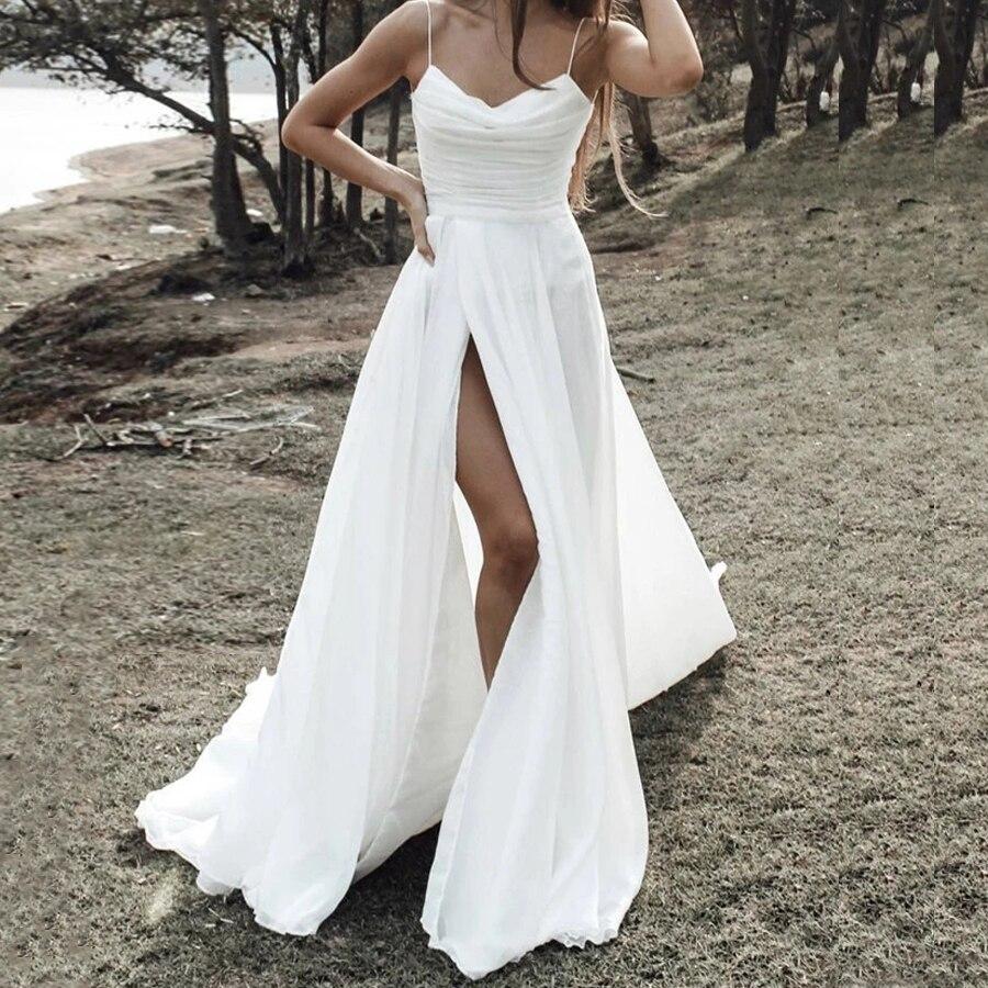 Beach A Line Wedding Dresses Ruched Chiffon Sexy Spaghetti Straps Simply Bridesmaid Bridal Gowns Cus