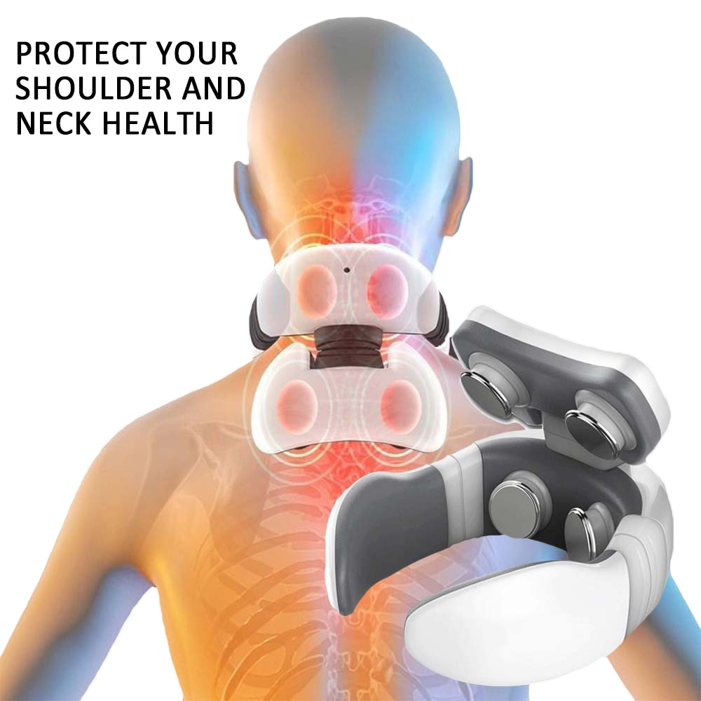 6 Modes Electric Neck Massager Neck Pulse Back Power Control Far Infrared Heating Pain Relief Tool H