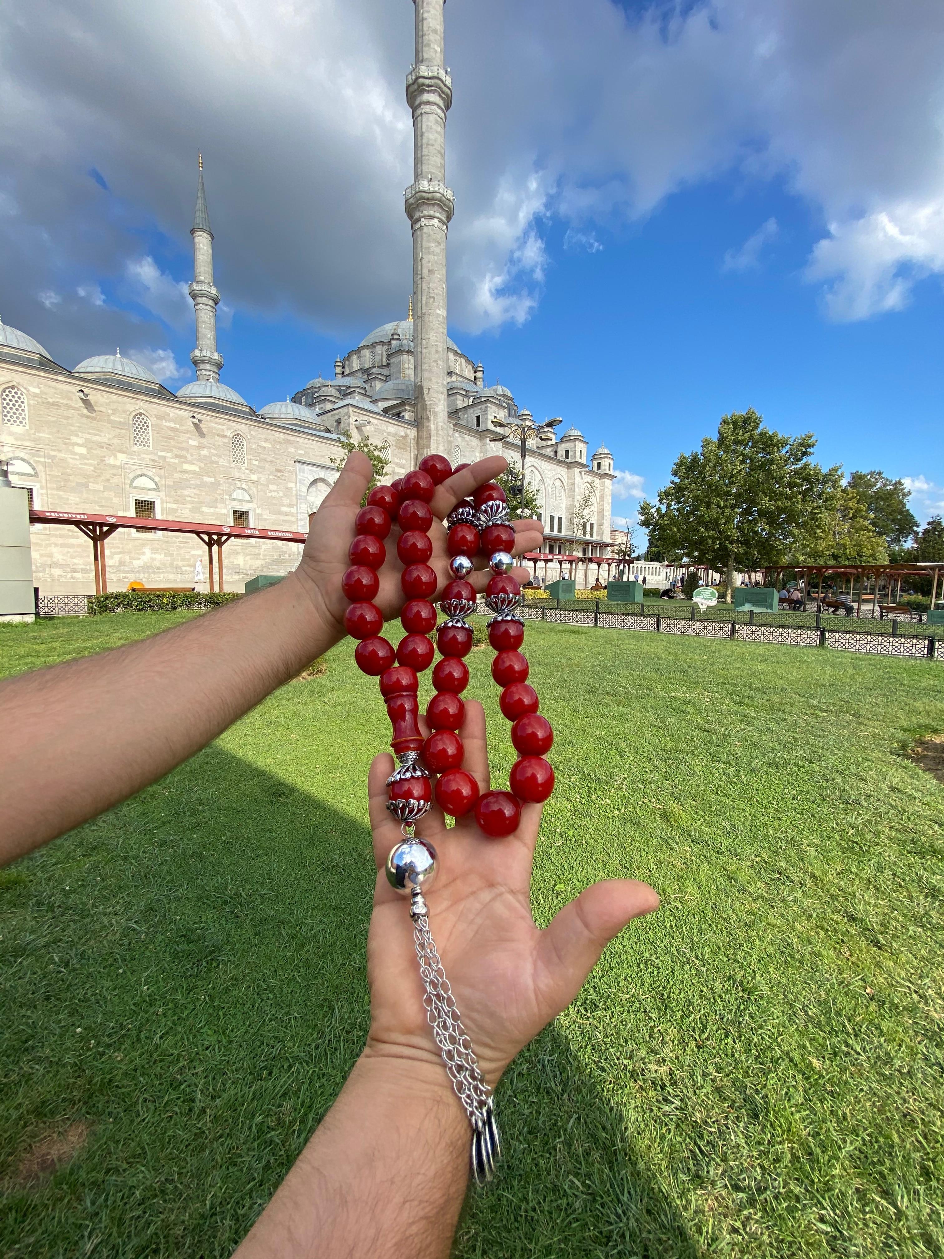 Ottoman Faturan German Amber Sandalous Misbaha Prayer Beads Islamic Gift Tasbih Tasbeeh Tasbeh Rosary Tasbih # 23A
