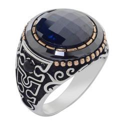 925 prata esterlina quebra-cabeça padrão facetado azul zircão pedra anel de prata para homem pedra preciosa zircão anel exclusivo