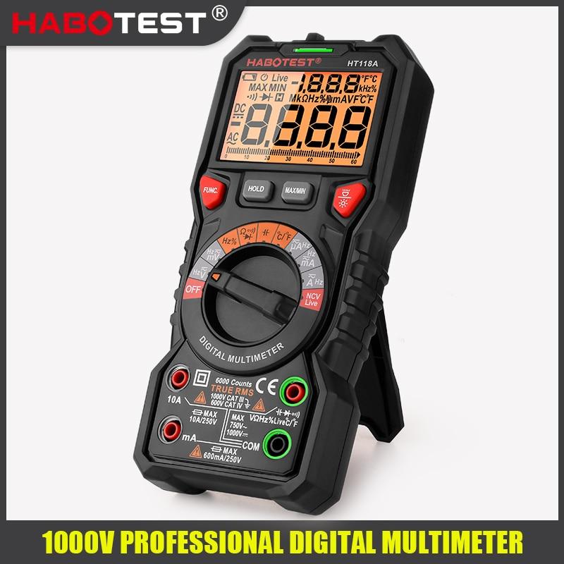 مقياس جهد رقمي احترافي عالي الدقة ، HT118 ، 6000 عدد ، 1000 فولت تيار متردد ، تيار مستمر ، أوم هرتز ، مباشر ، NCV ، C/F
