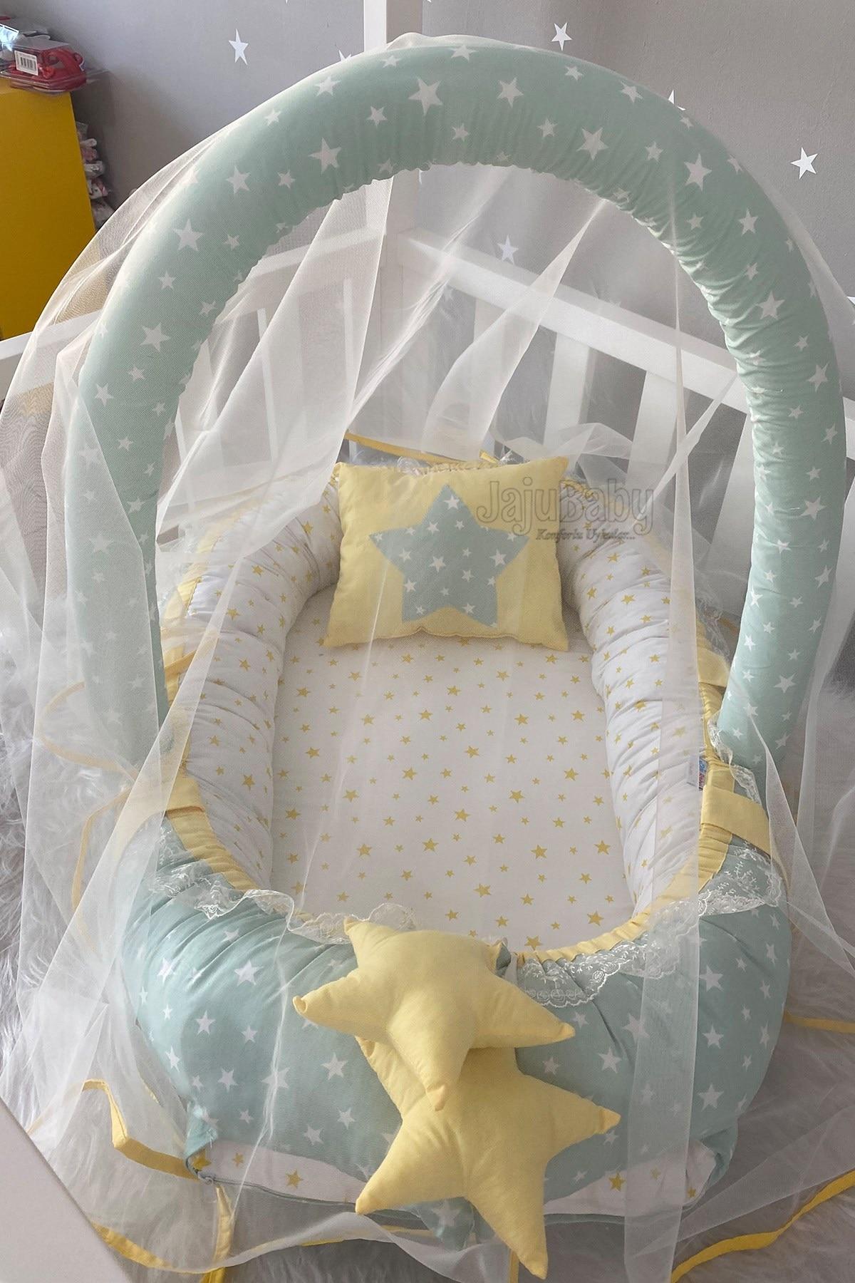 Jaju Baby Handmade Green Star Mosquito Net and Toy Hanger Luxury Design Babynest