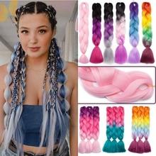 Extensions capillaires synthétiques Jumbo XINRAN   Tresses pour femmes, Style tendance, rose, violet, bleu, Blonde, Pure, couleur Piano