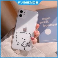 soft cute painted phone case for iphone 11 12 pro max mini xr x xs max 7 8 plus full lens protection shockproof case cover