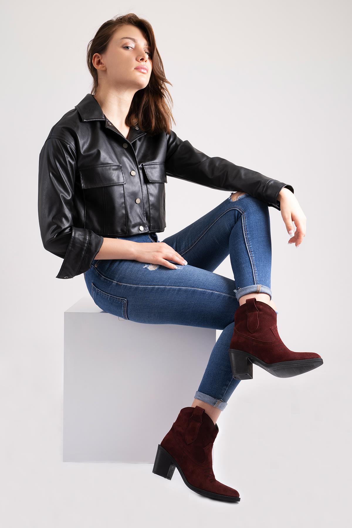 Callizio feminino couro genuíno bloco saltos botas de cowboy novo 2021 ocidental salto alto boot ankle booties feminino casual alta qualidade