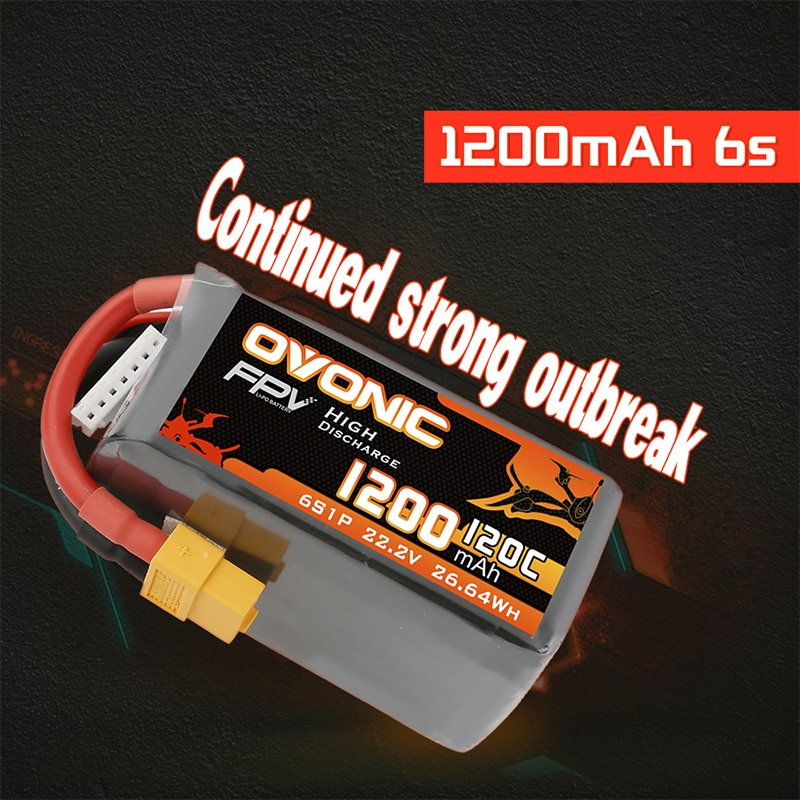 Ovonic RC Lipo Battery 120C 22.2V 6S 1200mAh Battery With XT60 Plug For FPV Racing RC Helicopter Plane Quadcopter Drone 2PCS enlarge