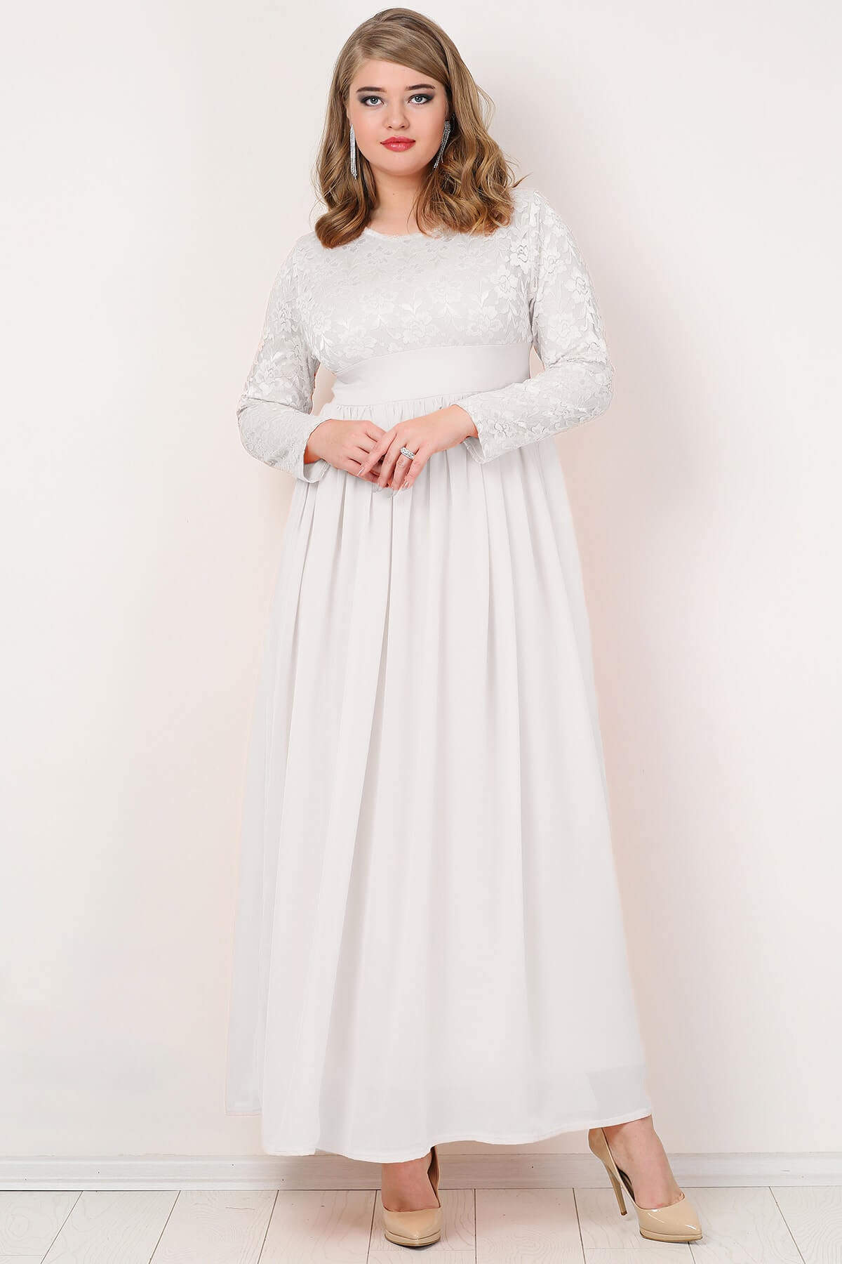 Angelino Plus Size Hijab Chiffon Lycra Long Evening Gown White Wedding Dress Long Sleeve Full Length Lycra Chic Women Clothing 1005002342581633 фото