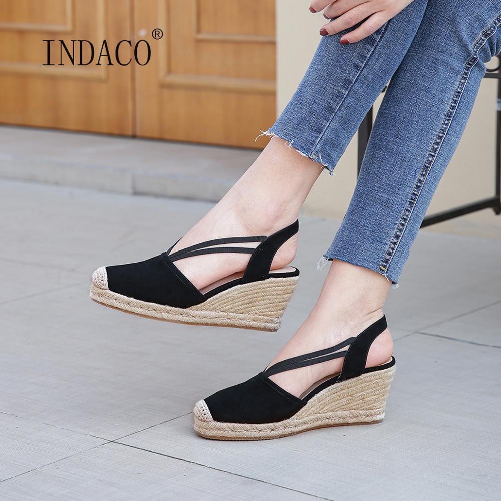 صنادل النساء 2021 صندل خشبي منصة الصنادل الجلدية النساء أحذية الصيف 6.5 سنتيمتر