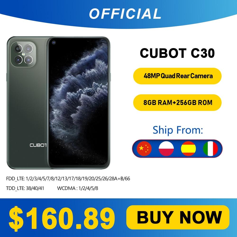 Cubot C30 48MP Quad AI Camera 8GB+256GB 32MP Selfie Smartphone Global 4G LTE Helio P60 NFC 6.4 Inch FHD+ 4200mAh Android 10