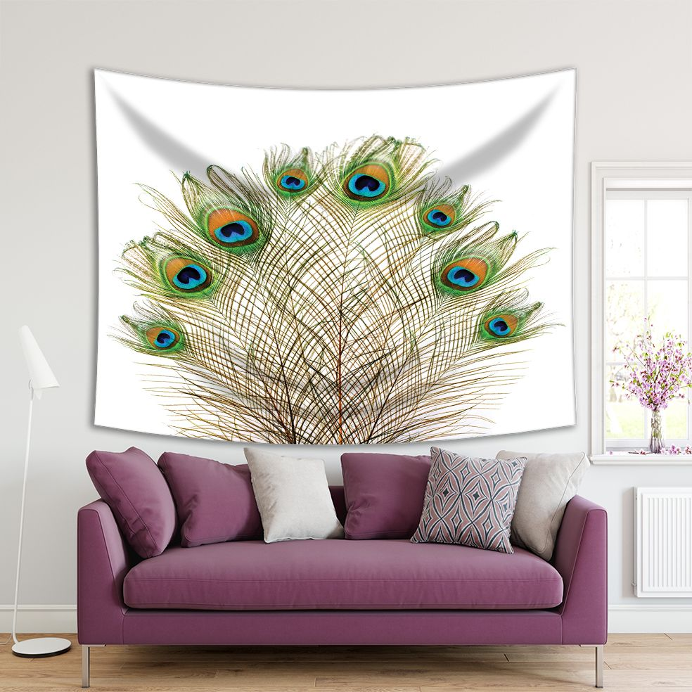 Tapiz con plumas de pavo real en blanco, exótico, colorido, a la moda, diseño a la moda, verde, azul, naranja