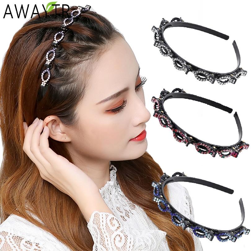 AliExpress - Non-Slip Alice Hairband Rhinestone Headband Women Hair Bands Hoop Claws Clips Double Bangs Hairstyle Hairpin Hair Accessories
