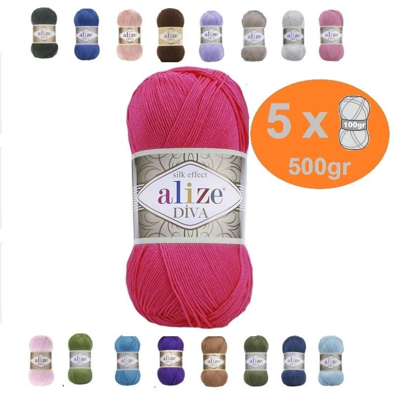 Alize Diva Yarn 5x100gr-350mt % 100 microfibra acrílica DIY tejer Crochet suave...