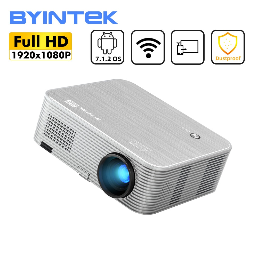 Byintk K15 الغبار واقية 1080P الذكية أندرويد كامل HD 4K 300 بوصة واي فاي ليزر ثلاثية الأبعاد LED عارض فيديو للهواتف الذكية