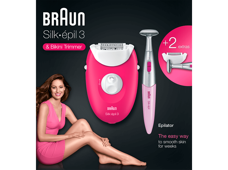 BRAUN Silk Epil 3 3-420 -2 Attachment- Corded Hair Removal Device Raspberry Pink enlarge