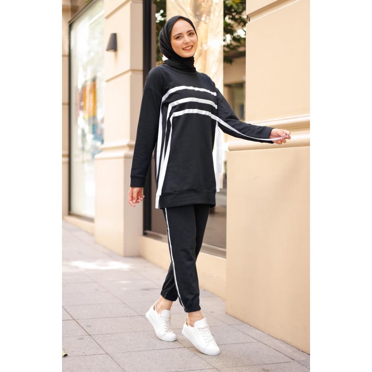 Мусульманская женская спортивная одежда, повседневная спортивная одежда, женская спортивная одежда, хиджаб, двойной мусульманский комплек...