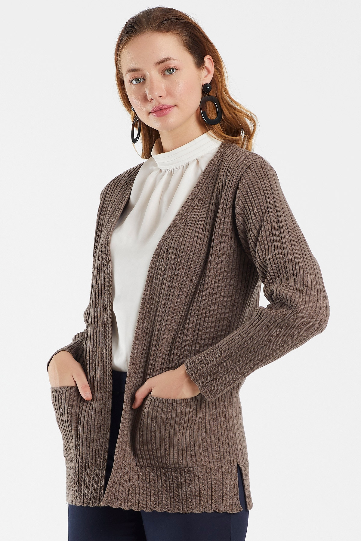 Women's Long Sleeve Open Front Knitted Cardigan - Sweater Outwear Tops with Pockets - Self Striped Sports Cardigan enlarge