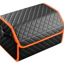 Organizer bag in the car trunk of eco-leather black with gray thread vicecar (orange edging)