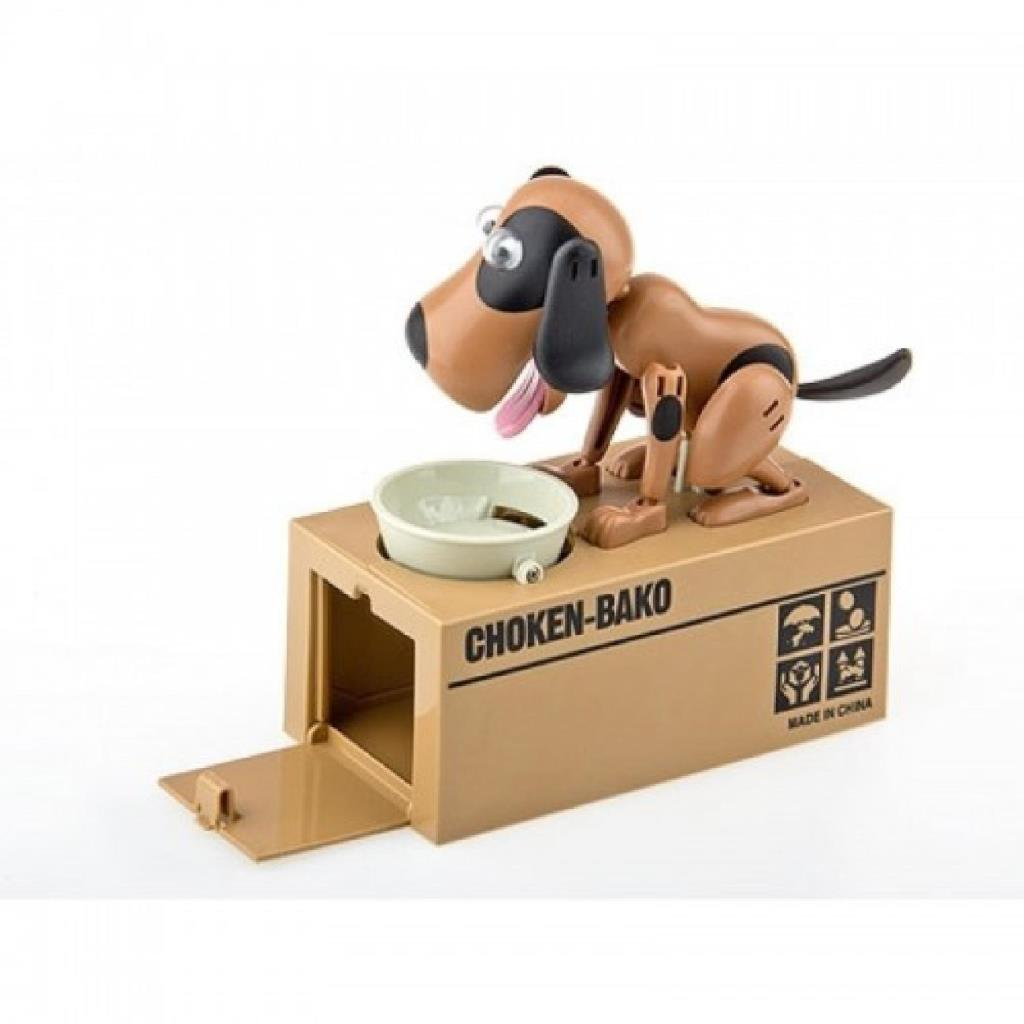 Perro Choken Bako comiendo dinero hucha