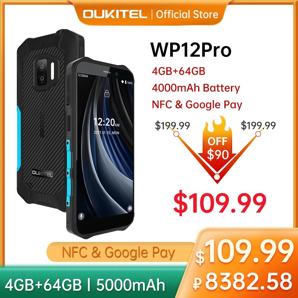 Перейти на Алиэкспресс и купить Смартфон Oukitel WP12 Pro защищенный, IP68/IP69K, NFC, 4 + 64 ГБ, 5,55 дюйма, HD +, 4000 мА · ч, 4 ядра