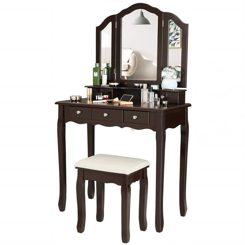 غرفة نوم 5 أدراج الغرور مجموعة منضدة خففت البراز الغرور ماكياج خلع الملابس الجدول درج مع ثلاثي مرآة قابلة للطي الأثاث جديد