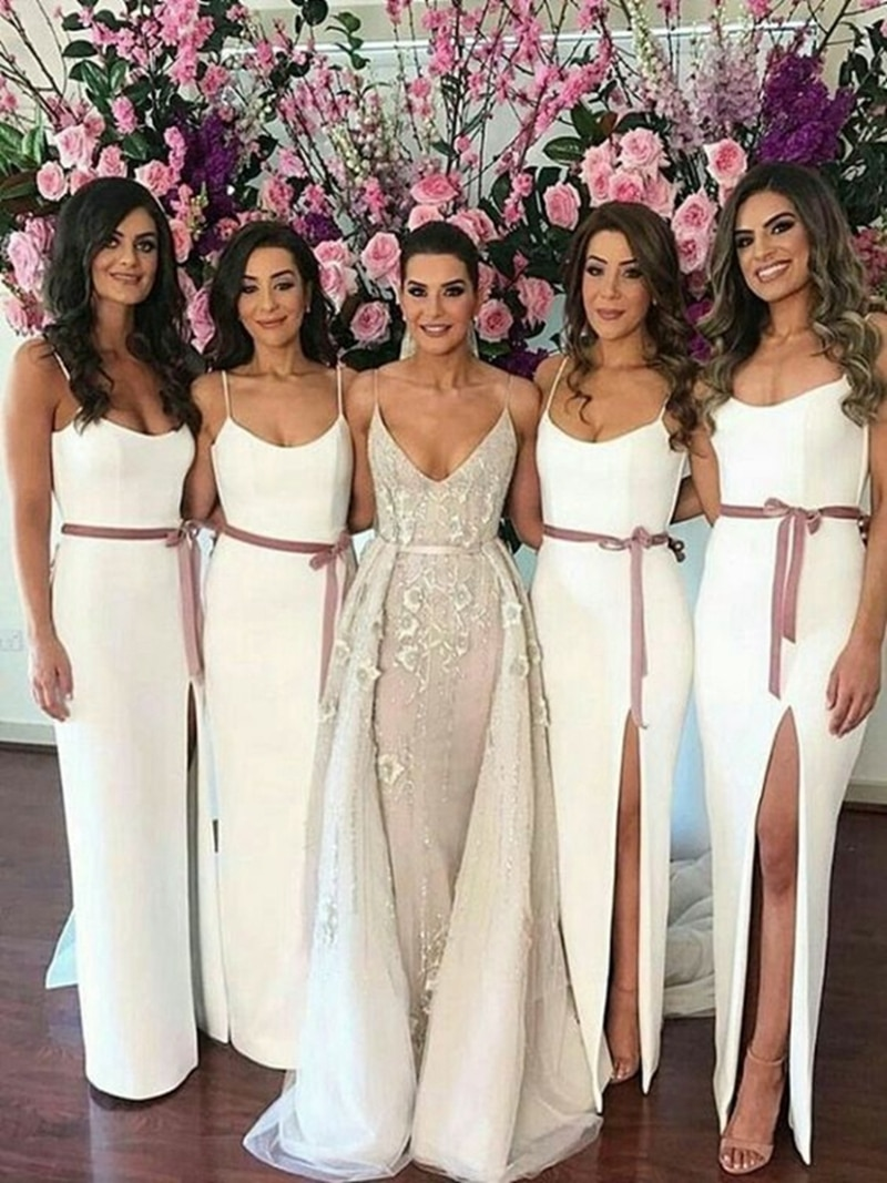 V neck spaghetti straps split front satin bridesmaid dress