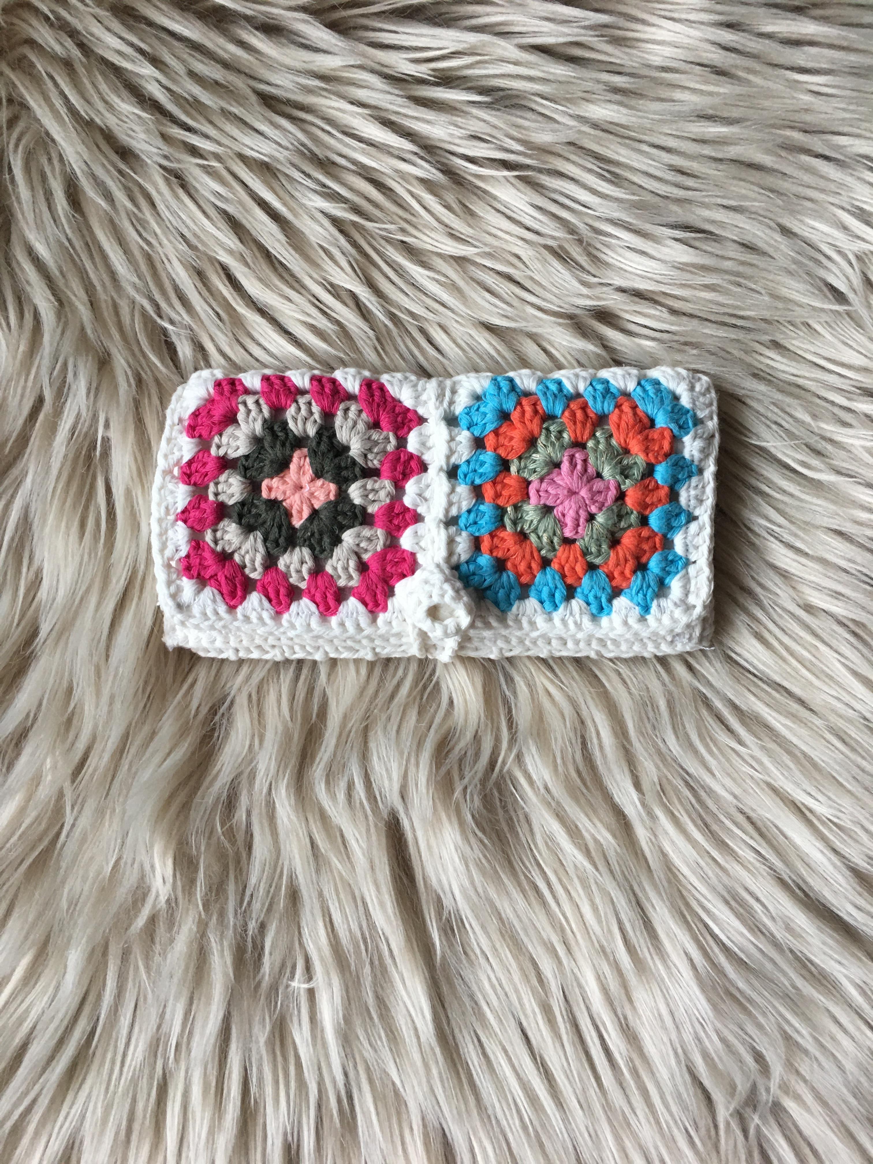 Mamie Suare sac Tabacco pochette Crochet sac lunettes conteneur maquillage sac portefeuille % 100 coton fait main